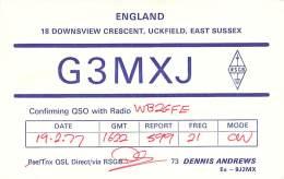 Amateur Radio QSL Card - G3MXJ - Uckfield, Est Sussex ENGLAND - 1977 On 21 MHz CW - Radio-amateur