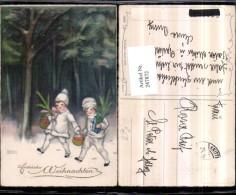 247872,Künstler AK Hannes Petersen Weihnachten Kinder M. Hauben Körbe Äpfel Wald Pub - Petersen, Hannes