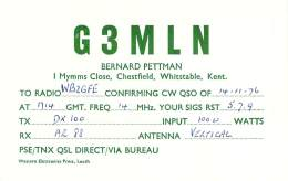 Amateur Radio QSL Card - G3MLN - Chestfield, Whitstable, Kent ENGLAND - 1976 - Radio Amateur