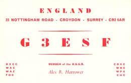 Amateur Radio QSL Card - G3ESF - Croydon, Surrey ENGLAND - 1976 - 2 Scans - Radio Amateur