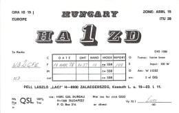 Amateur Radio QSL Card - HA1ZD - Kossuth, Hungary - 1978 - Radio-amateur