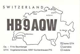 Amateur Radio QSL Card - HB9AQW - Guntershausen/TG Switzerland - 1977 - 2 Scans - Radio-amateur