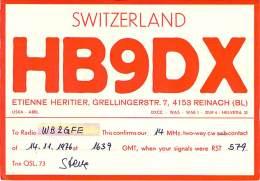 Amateur Radio QSL Card - HB9DX - Reinach Switzerland - 1976 - Radio Amateur