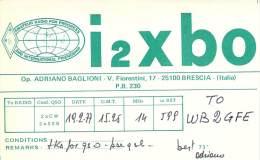 Amateur Radio QSL Card - I2XBO - Brescia, Italy - 1977 - Radio Amateur
