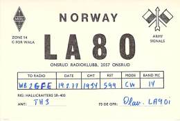 Amateur Radio QSL Card - LA8O - Onsrud, Norway - 1977 - Radio Amateur