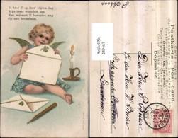 249467,Präge Litho AK Engel B. Briefe Schreiben Bleistift Kerze - Engel