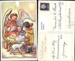 249475,Künstler AK Jesuskind Christus In D. Krippe Engel Kinder B. Beten Korb Schaf L - Engel