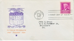 US  FAMOUS  AMERICAMS  FDC   SCIENCE  LUTHER  BURBANK  PLANTS - First Day Covers (FDCs)