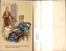 173347,Künstler Ak Scherz Humor Ehefrau M. Bild Anderer Frau Mann I. Tür Spruch Text - Humor