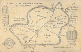 Carte Géographique De L'Oppidum De Bibracte - St-Leger-sous-Beuvray - Carte Non Circulée - Cartes Géographiques