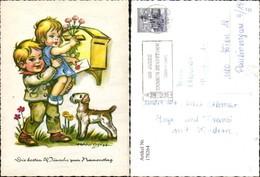 178264,Künstler Ak Hanitzsch Kinder B. Briefkasten Postkasten Hund Post Postwesen - Post & Briefboten