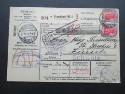 DR 1920 Paketkarte Germania MiF Frankfurt A.M. Gebrüder Dzialoszynski Nach Zürich. Zollamtlich Geprüft. Viele Stempel - Deutschland
