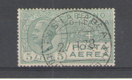 REGNO 1926-28 POSTA AEREA  VITTORIO EMANUELE III 5 L. CENTRATI ANNULLATO - Luftpost