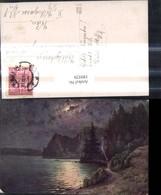 189529,Künstler Ak Lagerfeuer Ufer See Ruderboot Boot B. Mondschein - Non Classés