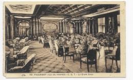(RECTO / VERSO) PAQUEBOT ILE DE FRANCE - N° 150 - LE GRAND SALON - DECHIRURE A GAUCHE  - 75 - CPA - Paquebots