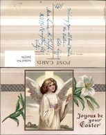 260256,Präge Litho AK Joyous Be Your Easter Engel Passepartout Blume Lilie - Engel