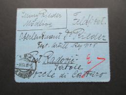 Österreich 1915 Feldpost Nach Kroatien?! Port Radovic?! Oberleutnant Rieder. Interessanter Beleg. Küstenland??!! - Briefe U. Dokumente