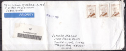 CUBA, 2007, Registered Cover From Cuba To India, 3 Stamps, Priority, Maximo Gomez - Cuba