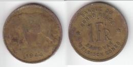 ****  CONGO BELGE - 1 FRANC 1944  - ELEPHANT **** EN ACHAT IMMEDIAT !!! - 1934-1945: Leopold III