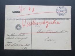 Schweiz Feldpost Sch. Mot. Kan. BTTR. 132 Soldatenstube. Militärkommission CVJM. Christlicher Verein Junger Männer - Briefe U. Dokumente