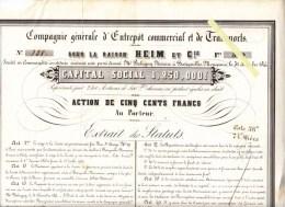 Action 500 F. - Heim & Cie  - Déc 1844 - Entrepot Commercial Et De Transport, Batignolles Monceaux - Transports