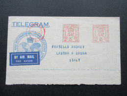 GB 1933 Freistempel Telegram Air Mail. Via Imperial Via Eastern. London Lastra A Signa über Geneve Poste Aerienne Suisse - 1902-1951 (Könige)
