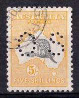 Australia 1929 Kangaroo 5S Grey & Yellow SMW Perf OS Probable CTO Variety - Used Stamps