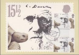 Great Britain 1982 Charles Darwin 15,5P (Giant Tortoises) Gutter Pair On Maxicard (31184) - Maximumkaarten