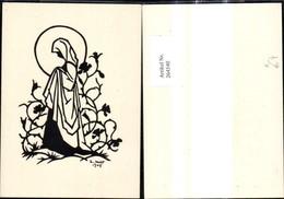 264540,Künstler Ak Scherenschnitt Silhouette Nonne Frau Heiligenschein Blumenranke - Silhouettes