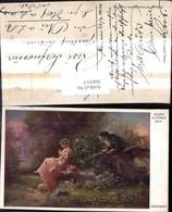 264517,Künstler Ak Hans Zatzka Belauscht Mann Belauscht Frau Garten Park - Zatzka