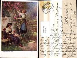 264524,Künstler Ak Hans Zatzka Kletterrosen Frau A. Leiter Rosen Frau B. Blumenbinden - Zatzka