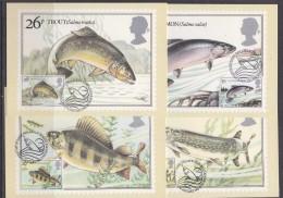 Great Britain 1983 British River Fishes 4v  On 4 Maxicards (31187) - Maximumkaarten