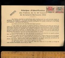 Timbres Spécimen Principes D'identificaion A3 000,000 B4  LOTERIE NATIONALE 23e Tranche 1944 - Specimen