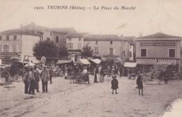 THURINS 69 CARTE LA PLACE DU MARCHE EPICERIE CHARCUTERIE BELLE CARTE ANIMEE RARE !!! - Other Municipalities
