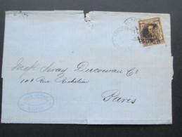 Spanien 1877 Nr. 159 EF Nach Paris. Juan Roose Malaga. Est. De Cambio Madrid. Rechnung / Firmenbrief - 1868-70 Übergangsregierung