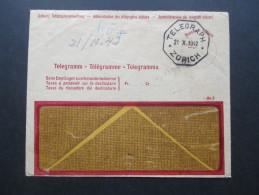 Schweiz 1942 Telegramm / Telegraph Zürich. Schweiz. Telegraphenverwaltung. 2 Umschläge - Briefe U. Dokumente