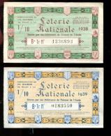THMS LOTERIE Débitants De Tabac De L´Aude Carcassonne Et Narbonne, 2 Billets 1938 Et 1939 - Billets De Loterie