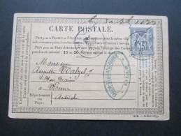 Frankreich 1877 Postkarte EF Facon Desmarcheuer Lille. Nach Wien - 1876-1898 Sage (Type II)
