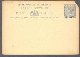 CEYLON, 1885 5 Cents On 6c Blue Postcard - Ceylon (...-1947)