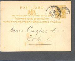 CEYLON, 1893 2c Postcard Olive Used In DICKOYA (3 Folds) - Ceylon (...-1947)