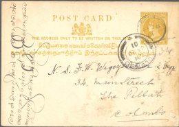 CEYLON, 1893 2c Postcard Olive Used In PASSARA, Very Fine - Ceylon (...-1947)