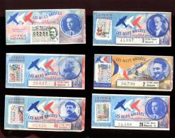 THMS LOTERIE Lot De 6 Billets Ailes Brisés Blériot, Pégoud Etc..dont 1 En Double - Billets De Loterie