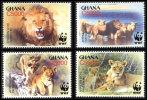 (WWF-358) W.W.F. Ghana African Lion MNH Stamps 2004 - W.W.F.
