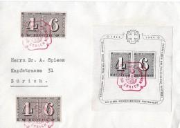 100 JAHRE SCHWEIZ.POSTMARKEN → Jubiläumsblock SBK W14 Mit 2x SBK258  ►FDC 26.02.1943◄ - Blocks & Kleinbögen