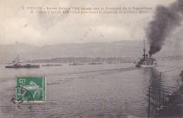 TOULON 83 REVUE NAVALE 1911 PASSEE PAR LE PRESIDENT DE LA REPUBLIQUE A BORD DU MASSENA BELLE CARTE RARE !!! - Toulon