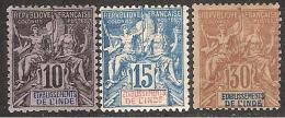 Inde 1892 N° Yvert 1/13* Type Sage 13 V. Beaux, Quelque ** Cat. 165,00 - India (1892-1954)