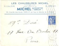 3523 PARIS 99 Jean Jaurés Lettre Entête Chaussures Michel Maître Bottier Paix 90 C Bleu Yv 368 Ob Meca RDV 16 2 1939 - Métiers