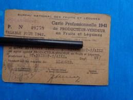 Carte Professionelle1941 De Producteur Vendeur En Fruits Et  Legumes - Cartes