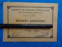 Carte Membre Adherent Societe De Chasse Communale Saint Priest Sous Aixe - Cartes