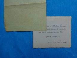 Faire Part De Naissance  De Jean Francois  Limoges Le 3 Novembre 1954 - Nacimiento & Bautizo